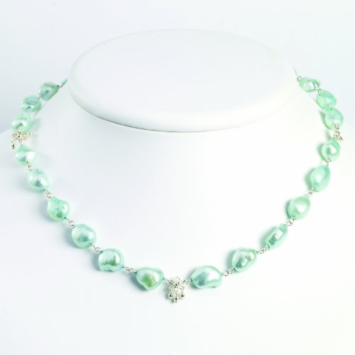 Sterling Silver Light Blue Freshwater Cultured Pearl Necklace