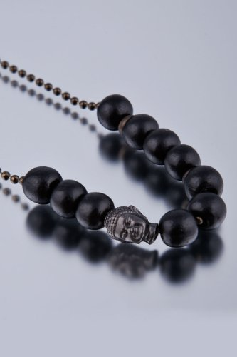 Dyoh Spiritual Jewelry Collection - 9mm Sumeria Finished Buddha and Wood Charm Necklace