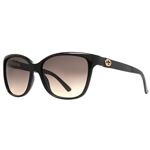 Gucci GG3645/S Sunglasses-0D28 Shiny Black (ED Brown Gradient Lens)-56mm