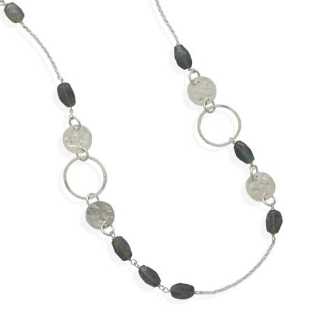 Endless Necklace with Faceted Labradorite Beads, 9.25 Sterling Silver Textured Discs & Ring Links