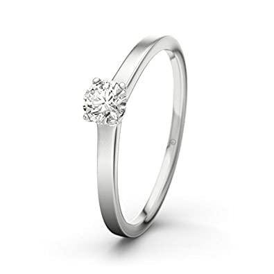 21DIAMONDS Women's Ring Jennifer 0.24 Ct Brilliant Cut Diamond Engagement Ring, 18ct White Gold Engagement Ring
