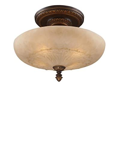 Artistic Lighting Restoration 4-Light 19 Semi-Flush Mount, Golden Bronze