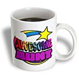 3dRose mug_201204_2 Shooting Star Rainbow Awesome Aunt Ceramic Mug - 15-Ounce - White
