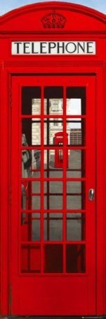 British Phone Booth London Travel Photo Giant Door Poster 21 x 62 inches