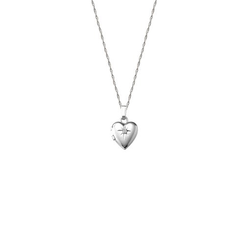 14k White Gold Children's Heart Locket with Genuine Diamond Necklace, 13