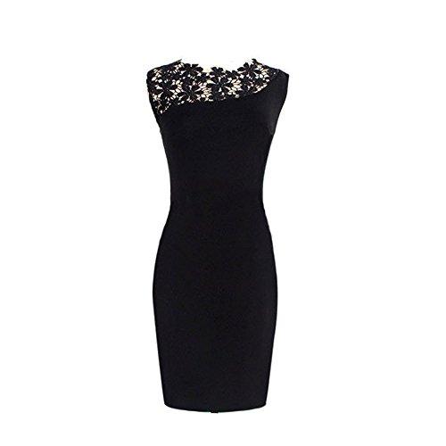 Fordestiny Women's Sexy Sleeveless Lace Party Mini Bodycon Dresses Black X-Lage Black