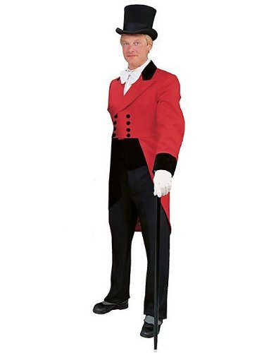 Men's Regency Double-breasted Red Tailsuit Costume L