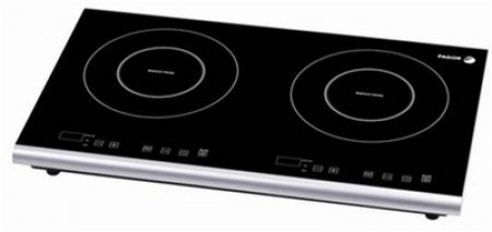 "23"" Portable Induction Cooktop with 2 Cooking Zones 6 Power Levels Child Safety Lock System Built-in Digital Timer and High Quality Glass Surface"