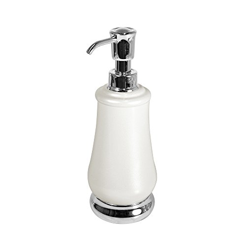 mdesign bath kitchen countertop soap lotion dispenser pearl white chrome home garden. Black Bedroom Furniture Sets. Home Design Ideas