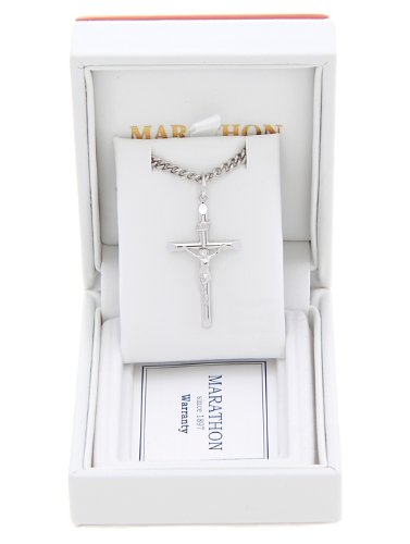 Sterling Silver Medium Inri Cross with Stainless Steel Necklace