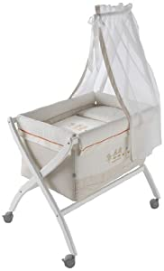 Naf-Naf Mini-Cot with Curved Stand, Textiles and Mosquito Net (Quack, Beige)