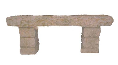 Stone Age Creations BE-SS-3 Buff Sandstone Stone Boulder Bench