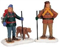 Lemax Snowshoe Backpackers set of 2 Poly-resin figurines (12496) picture