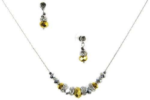 Silver-Tone Jewelry, Silver & Gold Rondelle Glass Bead Necklace & Drop Earrings