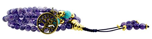 Yoga Meditation Simulated Amethyst 108 Prayer Beads Mala Wrap Bracelet or Necklace with a Charm (Brass Tree of Life)