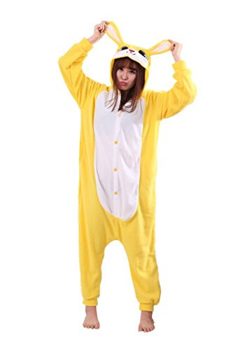 [The ShielD? Animal Cosplay Costume Unisex Adult Pajamas Yellow RabbitLarge] (Costume Rental Jakarta)