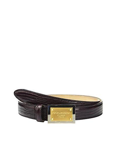 Dolce & Gabbana Cinturón Piel Morado Oscuro