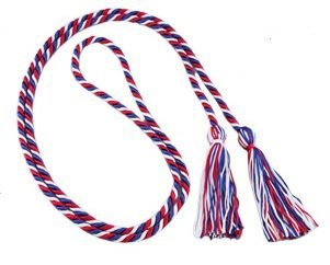 Three-color Braided Honor Graduation Cords (Red/White/Royal Blue-mixed tassel) (Graduation Cords compare prices)