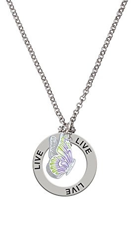 Translucent Purple & Lime Green Flying Butterfly - Live Affirmation Necklace