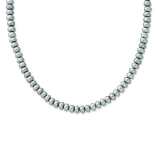 Sterling Silver 6-7mm FW Cult. Pearl Grey Necklace. 18in long Necklace.