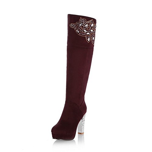 Voguezone009 Womens Closed Round Toe High Heel Chunky Heel Frosted Solid Boots With Glass Diamond, Red, 39