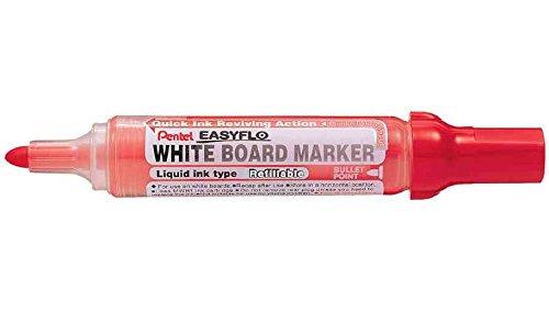 PENTEL Lot de 3 Marqueurs tableau blanc EASYFLO MW50M Pte ogive 2,5 mm Rouge