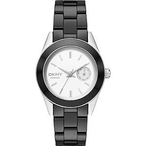 DKNY White Dial Black Ceramic Ladies Watch NY2143