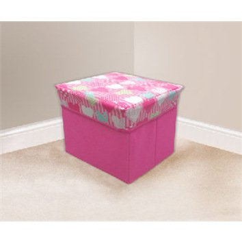 Square Storage Box Chest with Padded Lid (30 x 30 x 32cm) - Pink Hearts