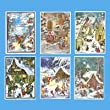 "Pack of 12 Children Scene Advent Christmas Calendars with Envelopes 8"" x 11"""