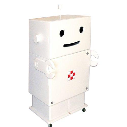 HERO 木製収納ロボ ロビット(Robit) ホワイト 収納家具/キャスター付き/ロボット/本棚/可動棚/キャビネット/オシャレ/個性的/かわいい