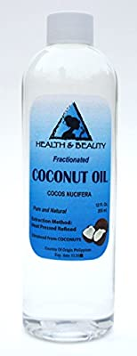 Coconut Oil Fractionated Organic Carrier Ultra Refined Premium 100% Pure 12 oz