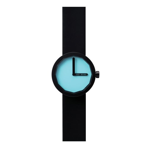 ISSEY MIYAKE TWELVE SERIES LADIES QUARTZ STAINLESS STEEL BLACK LEATHER STRAP WATCH SILAP006