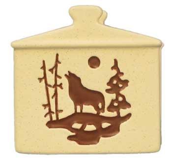 Wolf Scene Napkin Holder, Earthtone Tan, 4.5-inch, Tabletop Free Standing