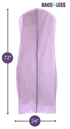 New Breathable Light Purple Wedding Gown Garment Bag by BAGS FOR LESSTM (Garment Wedding Dress Bag compare prices)