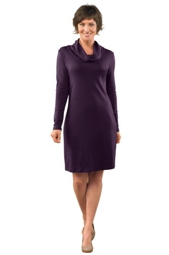 Fair Indigo Organic Pima Cotton Cowl Neck Dress