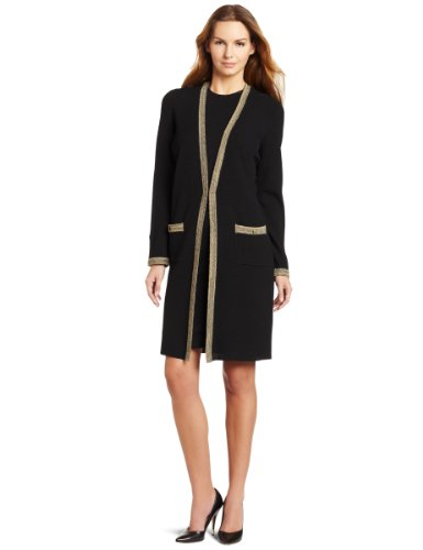 Jones New York Women's Long Sleeve Long Cardigan Sweater, Black Multi, Small