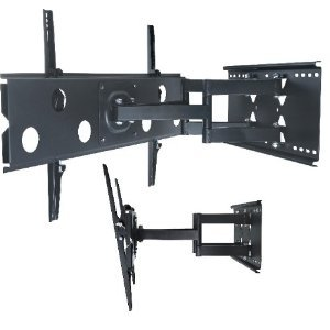 Allcam large Arm TV Bracket Universal for 42″ 46″ 50″ 55″ 60″ LED/LCD/Plasma TVs Wall Mount (Pull-out, Swivel, Tilt) in Black