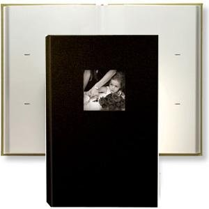 """Kolo Hudson, 12-1/4x8"""" Leather Bookbound Picture Album, With Soft White Pages, Holds 300 4x6"""" Photos, 3 Per Page, Color: Black"""