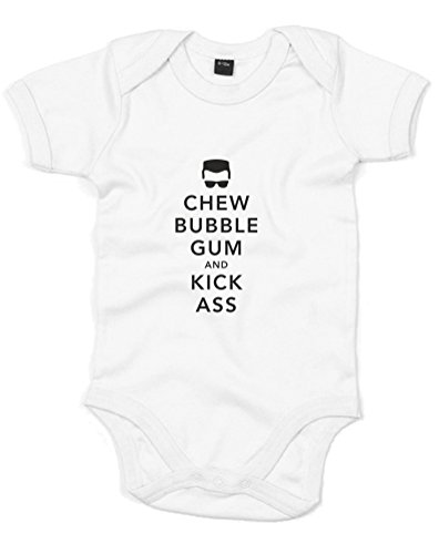 Chew Bubble Gum, Printed Baby Grow - White/Black 0-3 Months front-1004435