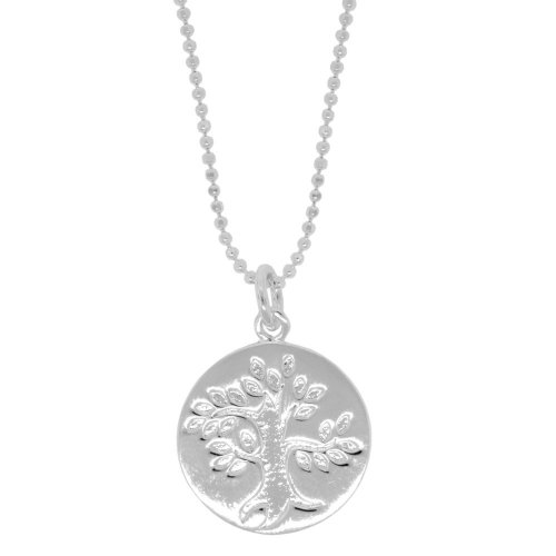 """Sterling Silver Engraved Tree with Circle Pendant on Shot Bead Chain, 18"""""""