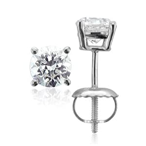 Diamond Stud Earrings Round Brilliant Shape Platinum 4 Prong Screw Back ( J Color SI2-I1 Clarity 1 Carat t.w. Weight )