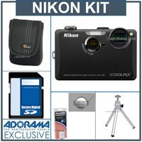 Nikon Coolpix S1100pj Digital Camera Kit - Black - with 8GB SD Memory Card, Camera Case, Table Top Tripod, Spare EN EL-12 Lithium-Ion Battery, 2 Year Extended Service Coverage