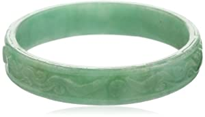 Carved Green Jade 15 mm Slip-On bangle Bracelet, 7.5