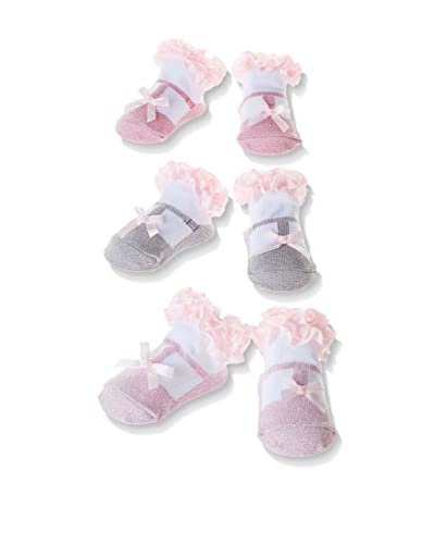 Pitter Patter Baby Gifts Pack x 3 Calcetines In A Box Rosa / Gris