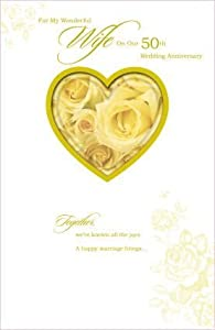 50th Wedding Anniversary Gift Ideas For Wife : Wife 50th Wedding Anniversary (Golden) Greeting Card: Amazon.co.uk ...