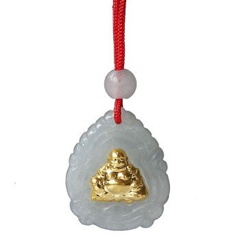 24K Gold Smiling Buddha Genuine Jadeite Jade Pendant Necklace(With Certificate)-SN3310