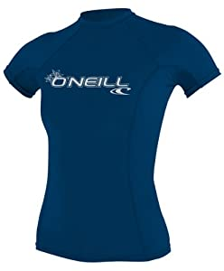 O'Neill Wetsuits Women's Basic Skins Short Sleeve Crew Rash Guard Shirt, Deep Sea, X-Small