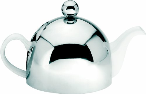 G&H Tea Services Soho 30 6-Cup Ceramic Teapot With Insulated Chrome, White