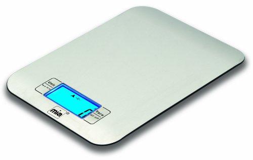 MIA Balance de cuisine ou pèse-lettres design en acier inoxydable avec écran de visualisation numérique LCD