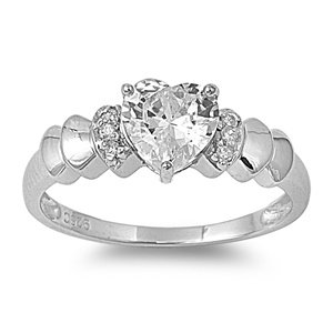 Sterling Silver Engagement Heart Ring with CZ Stone - Size 8